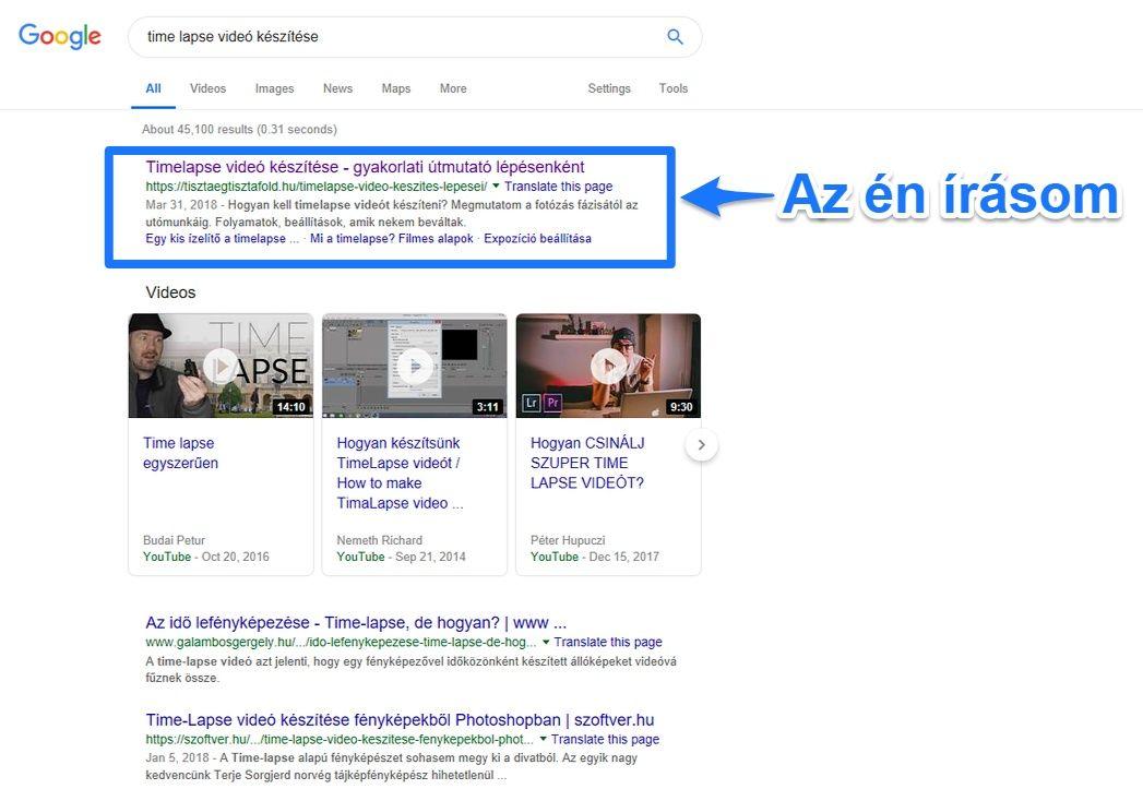 google elso hely timelapse keszites