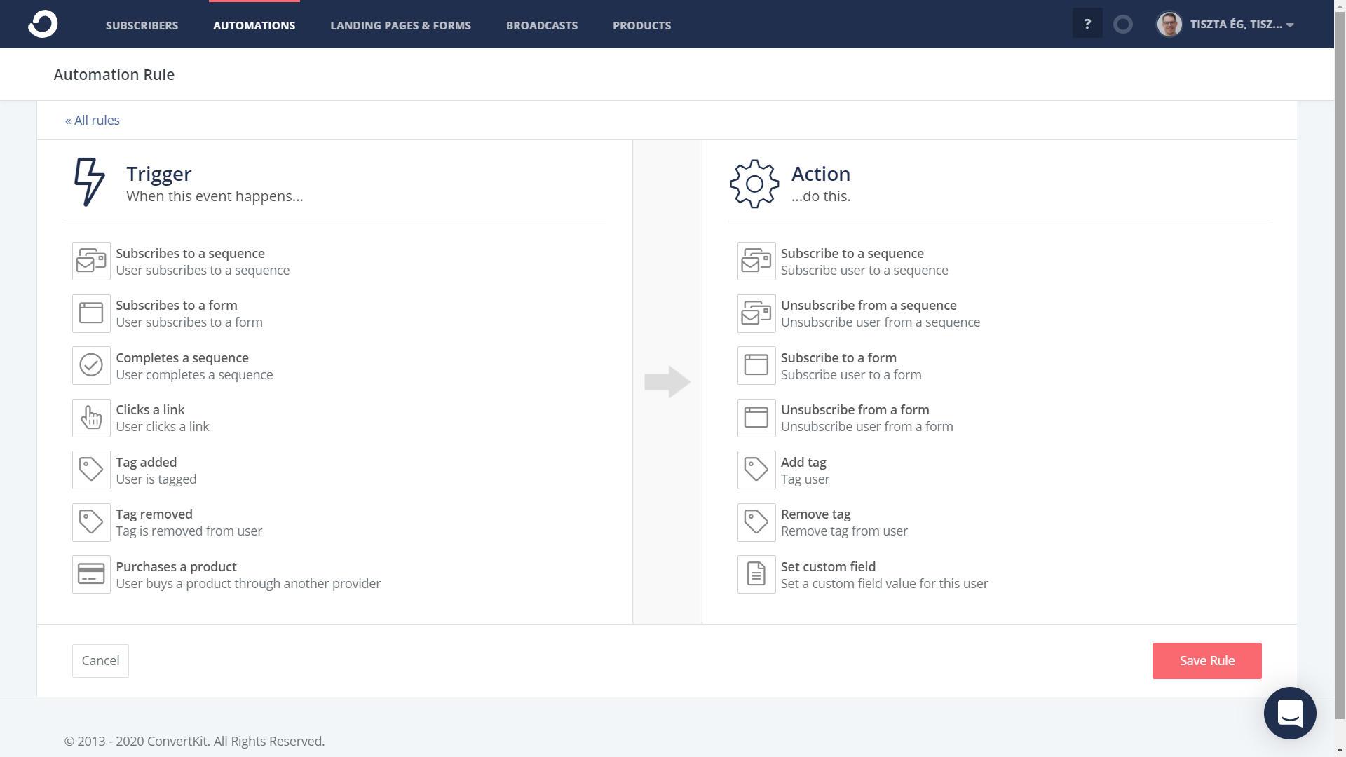 Automatizálási lehetőségek Convertkitben