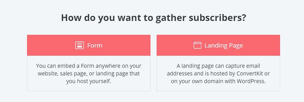 Convertkit feliratkozás form vagy landing oldal