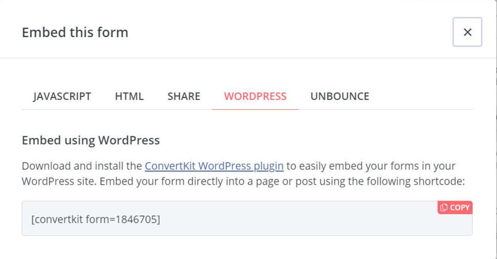 convertkit űrlap rövidkód wordpress
